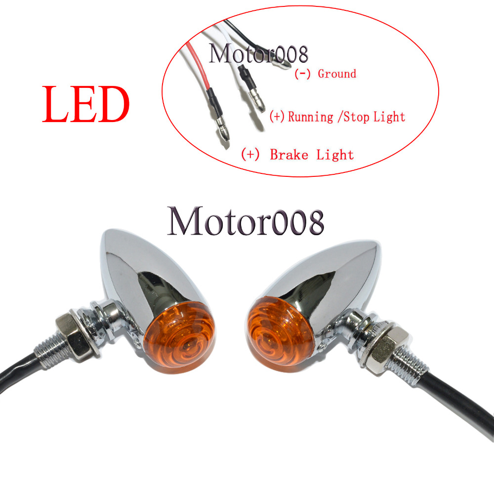 motorcycle amber led 3 wires chrome bullet mini turn signal running lights for harley sportster dyna softail bobber chopper [ 1000 x 1000 Pixel ]