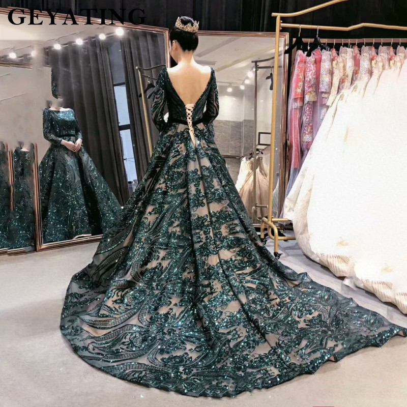Emerald Green Sequined Long Sleeves Evening Dress 2019 Saudi Arabic Muslim Women Formal Gowns Dubai Kaftan Vestidos de festa(China)