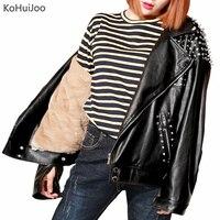 KoHuiJoo 2018 зима заклепки кожаная куртка корейский стиль Мода Толстые Куртка из искусственной кожи женская обувь на застежке молнии панк корот
