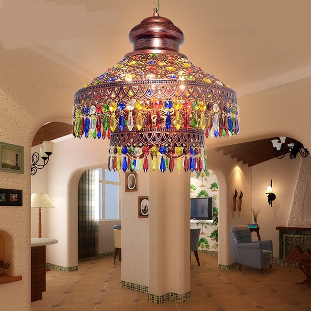 Southeast Asia Thai Lighting Bohemian Pendant Lamps Color Crystal Coffee  Three Heads Creative Project Pendant Light