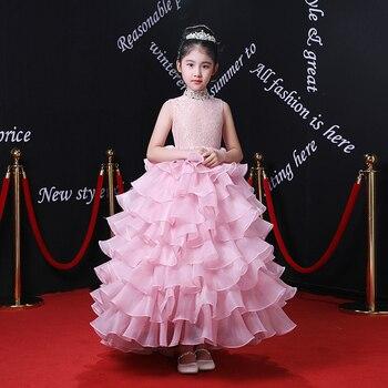 Cloud Flower Girl Dress Ball Gown Wedding Dresses Summer New Sleeveless Appliques Princess Girls Dresses Pink Gowns AA246