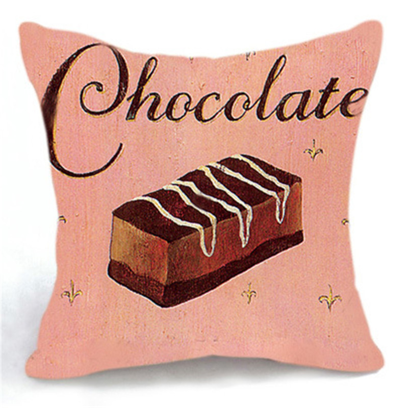 High Quality Cotton Pillow Case Chocolate And Coffee Cushion Cover Sofa  Home Decor Luxury Printed Nice