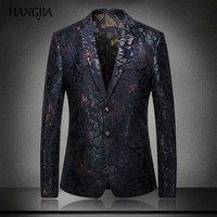 Mens Luxury Brand Slim Fit Blazers New Printing Pattern Plus Size Long Sleeve Suit Stylish British Style Party Wear Men S-4XL