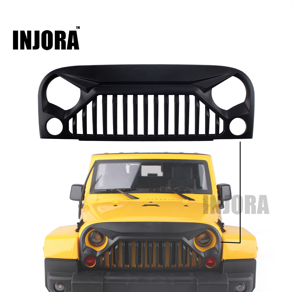 INJORA Black Air Inlet Grille Front Face for 1/10 RC Rock Crawler Axial SCX10 RC4WD D90 Jeep Wrangler Rubicon Body Shell injora 2pcs 90mm metal shock absorber for 1 10 rc crawler axial scx10 rc4wd d90 tamiya cc01