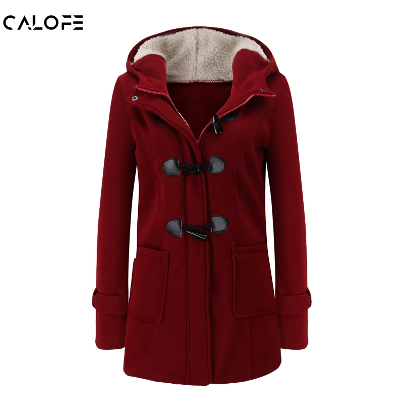 CALOFE Women   Basic     Jacket   2019 Causal Coat Spring Autumn Women's Overcoat Zipper Horn Button Outwear   Jacket   Female Hooded Coat