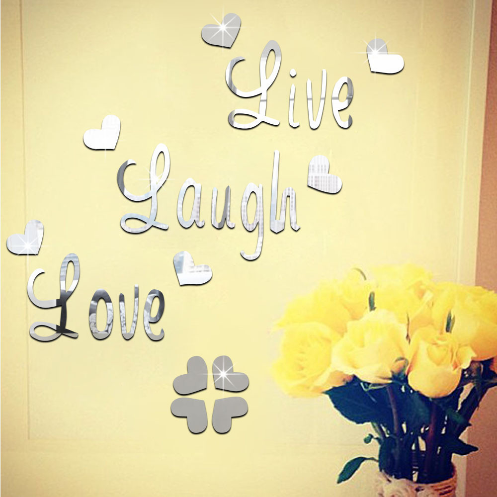 online get cheap live love laugh decor aliexpress com alibaba group fashion silver gold 3d acrylic mirror surface wall stickers