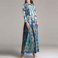 HIGH QUALITY New 2018 Fashion Peacock Women S Long Sleeve Vintage Blue And Green Print Dress