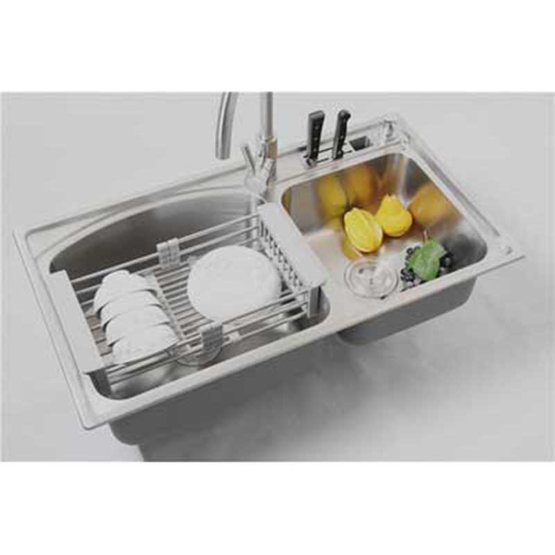 stainless kitchen dish rack fruits and vegetables draining