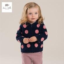 DB3665 davebella осень новорожденных девочек многоточий верхняя одежда ребенка с капюшоном пальто бабий верхняя одежда девочки одежда
