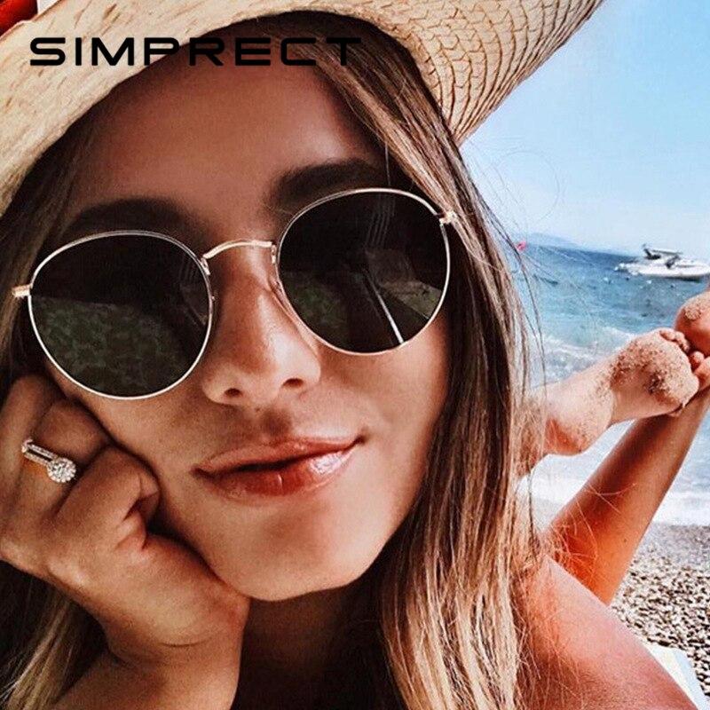 59faeb70bc24a SIMPRECT Retro Round Sunglasses Women 2019 Pink Mirror Metal Men Sun Glasses  Vintage Brand Designer Lunette De Soleil Femme