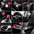 2016 new arrivals personalized fashion diamond camellia PU leather black pink car steering wheel covers car styling Accessories