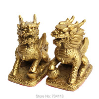 Kirin 1 Pair Prayer Animal Unicorn Ornaments Lucky Feng Shui Decorations Livingroom Tabletop TV Cabinet Artwork
