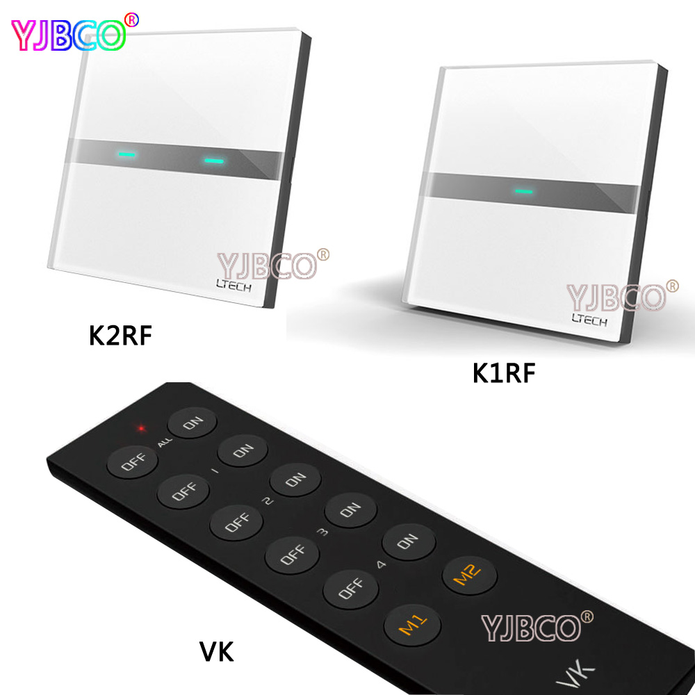 K1RF(1 way) K2RF(2 Waysmart) Wall Mount smart Touch Switch panel control for led lamps AC200-240V with VK remote k1rf ltech one way touch switch panel ac200 240v input can work with vk remote page 1