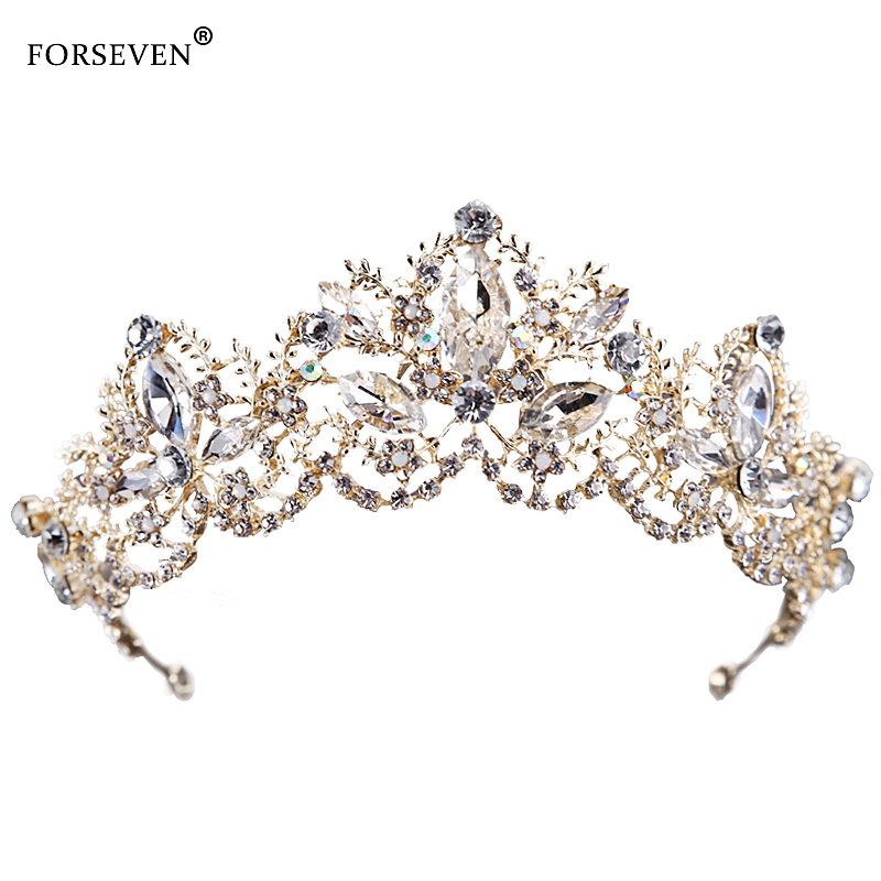New Fashion Wedding Crystal Crown Hair Jewelry FORSEVEN