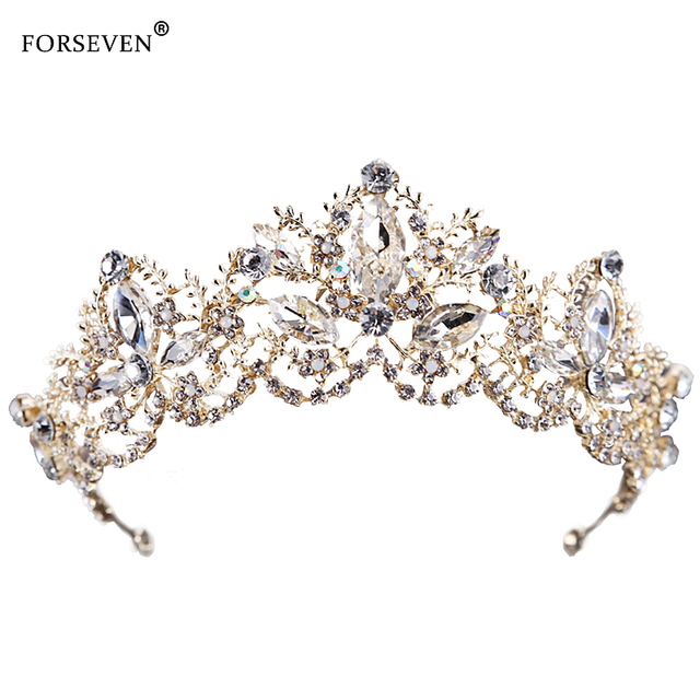 New Fashion Wedding Crystal Crown Hair Jewelry FORSEVEN Gold High quality Handma