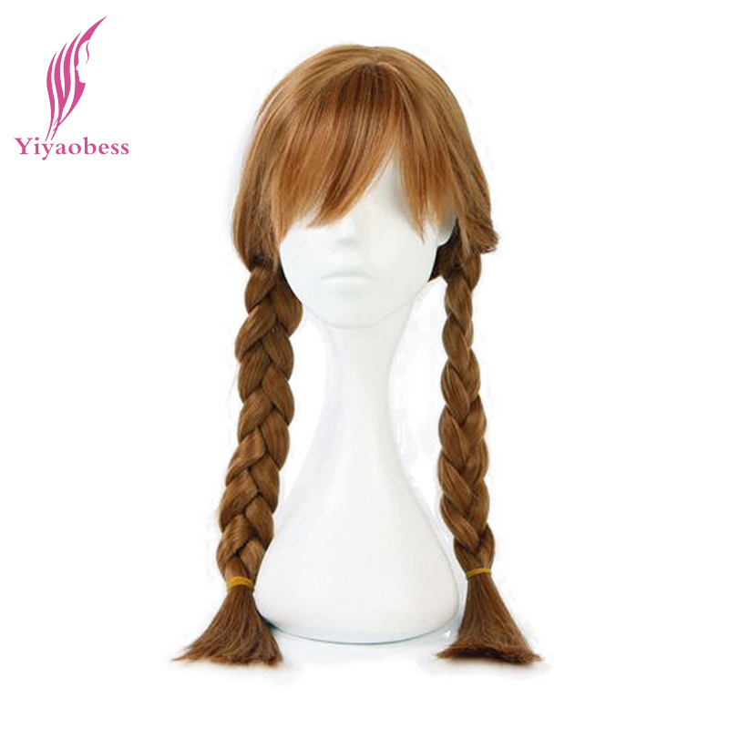 Yiyaobess 28inch Synthetic Long Brown Blonde Anna Elsa Cosplay Wig With Ponytails Whip Heat Resistant Hair Wigs