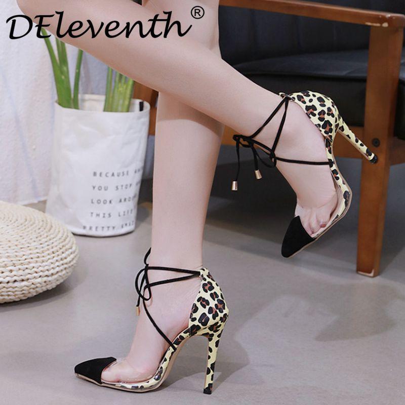 Delevxie 2019 printemps femmes talons aiguilles pompes de mode dames bout pointu à lacets léopard transparent PVC chaussures à talons fins