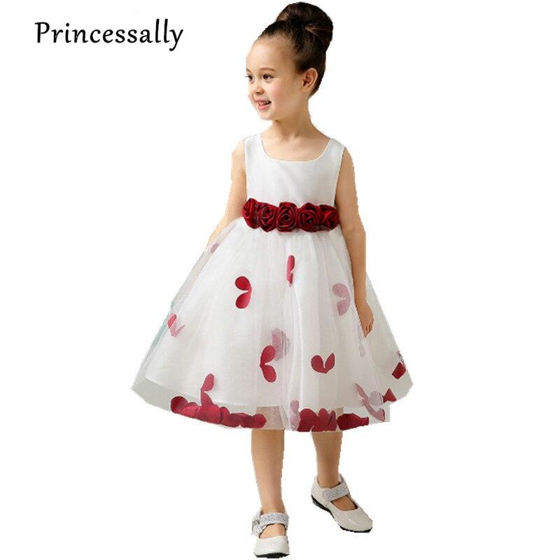 Vestido De Noiva New Flower White With Wine Red Graduation Gowns Children Kids