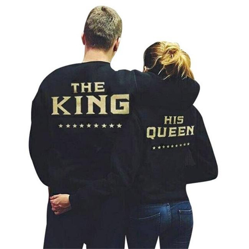 2017 New Hot King Queen Couple Letter Print Couples Tops Couple Hoodies Sweatshirts S-XL Black