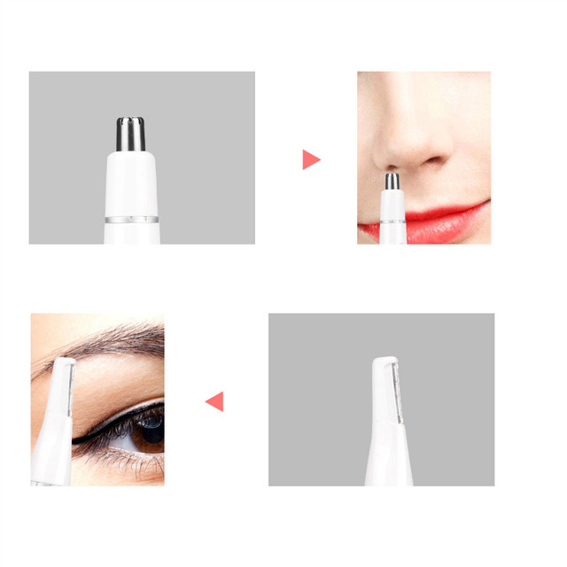 2 in 1 Portable Nose Eyebrow Hair Trimmer Mini Battery Operated Nose Ear Hair Removal No Pain Unisex Face Care Shaving Razor 31 3