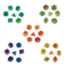 7 шт./компл. световой многогранные кости D4 D6 D8 D10 D12 D20 Набор для подземелья и дракон D& ролевые поли игра