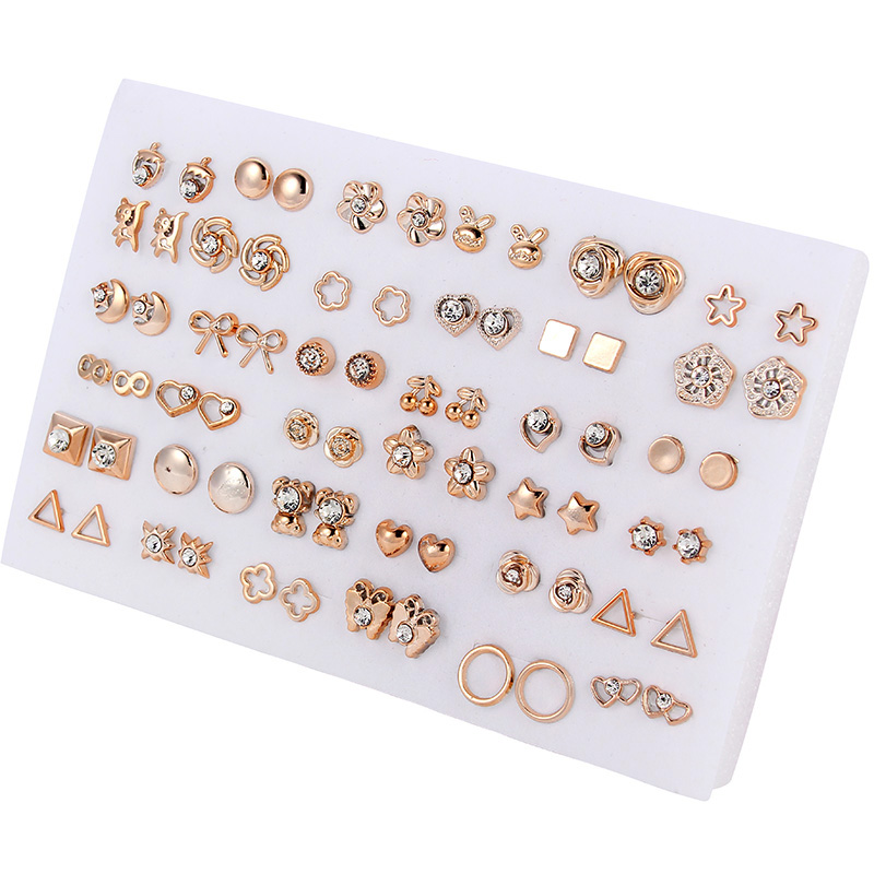 36pairs/set Gold Flower Stud Earring Set For Women Girl Crystal Heart Star Kids Earrings Fashion Jewelry Gift Mix Styles