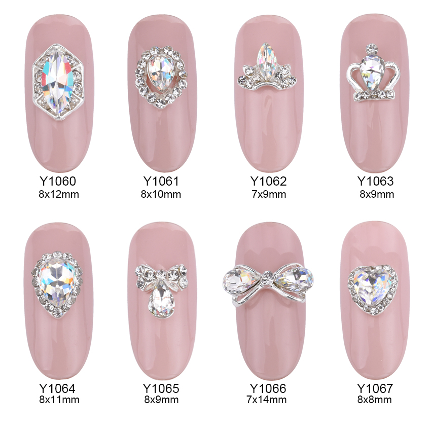 10pcs Glitter glass gems Alloy 3d nail jewelry bows strass nail art decorations DIY top quality nail charms supplies Y1060~70 5pcs nail art rings glitter square strass rhinestones nails decorations new arrive 3d nail jewelry nail art bows charms mns743