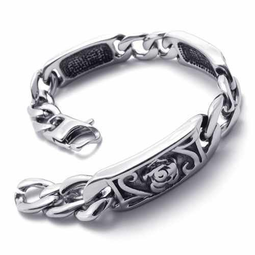 Fashion Jewelry Stainless Steel Bracelet Silver Quadrate Strip Carven Rose Flower Chains Men Cuff Bracelets 20784