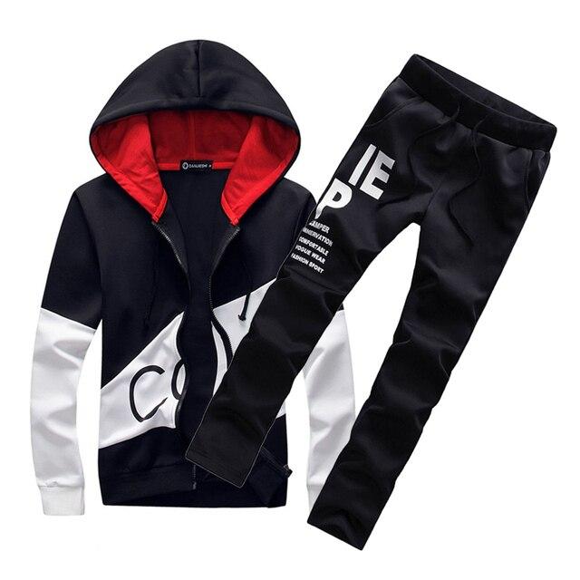 c5ee47c52b7f Большие размеры спортивных костюм мужчины теплый спортивный костюм с  капюшоном трек поло мужские спортивные костюмы комплект