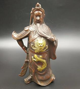 Collect archaize brass handicraft guan gong god wealth statue