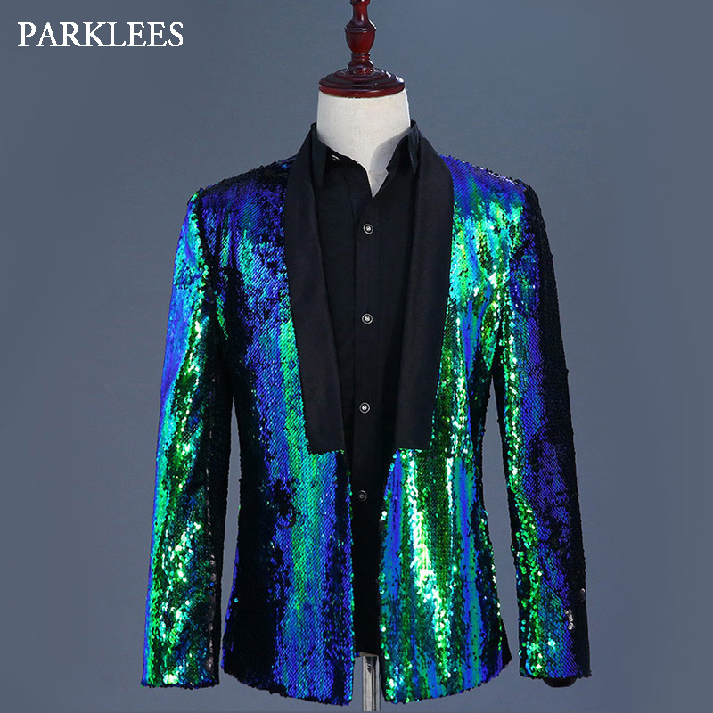 <font><b>Mens</b></font> Flipping <font><b>Sequins</b></font> Blazers <font><b>Jackets</b></font> Singer DJ Costumes <font><b>Men</b></font> Blue <font><b>Green</b></font> Paillette Suits Homme Stage Prom Dance Nightclub Outfit image