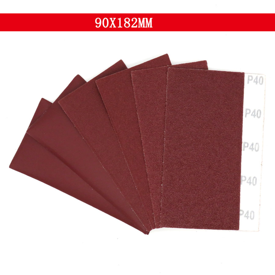 5-50Pcs 90x182mm Square Sandpaper Sand Sheets Grit 40 100 400 Hook Loop Sanding Red Polishing