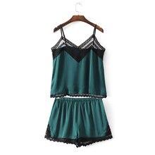 2017 summer time pajamas units Women  Sleep set Women's Deep Lace V-neck Sexy Spaghetti Strap Shorts Female Sleepwear silk homewear