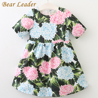 Bear Leader Girls Dress 2017 Brand Princess Dress O Neck Girls Clothes Flowers Pattern Printing For