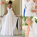 Backless Cheap Formal Pleated Sexy Vintage Chiffon V Neck Wedding Dresses 2016 Garden Sheer Beach Bridal Wedding Dress