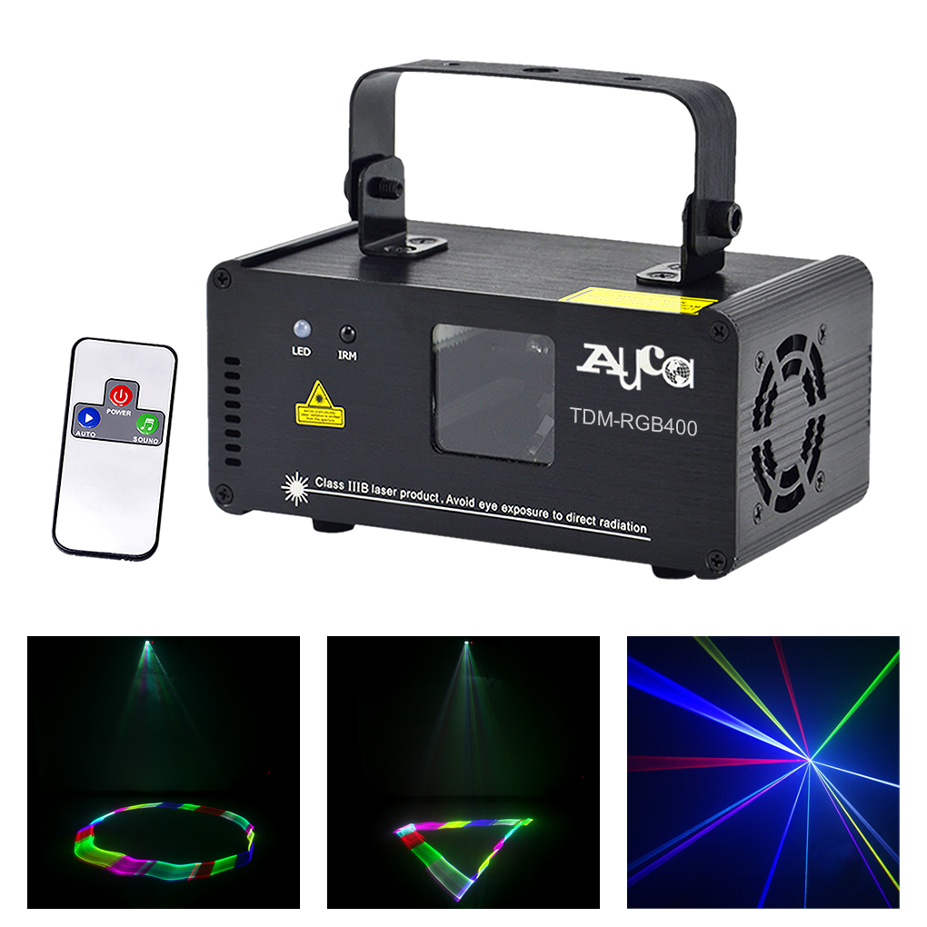 Mini 3D Effect 400mW RGB Full Color Laser Scanner Lights DJ Party Home Wedding Projector Stage Lighting PRO Remote 8 CH DMX Lamp