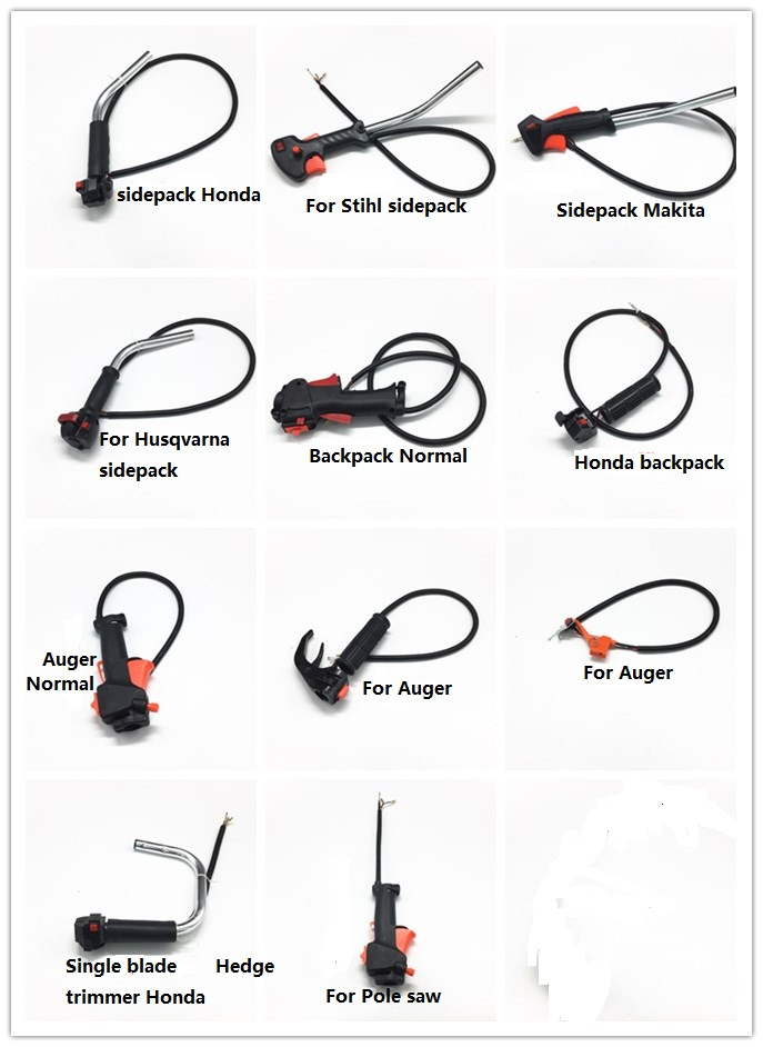 handle bar switch accelerator throttle trigger cable assy for sidepack backpack hedge trimmer
