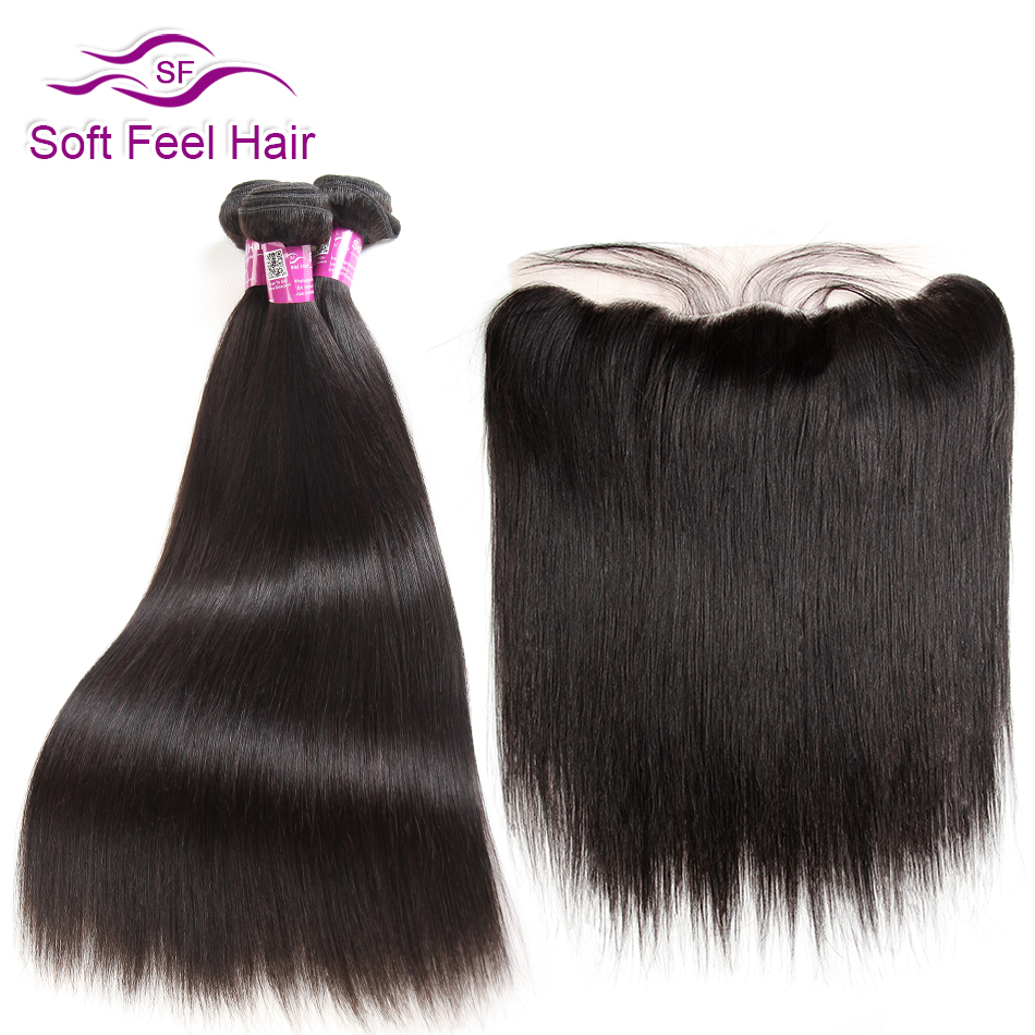 Soft Feel Hair Peruvian Straight Hair 3/4 Bundles With Frontal 13x4 Remy Human Hair Ear To Ear Lace Frontal Closure With Bundles