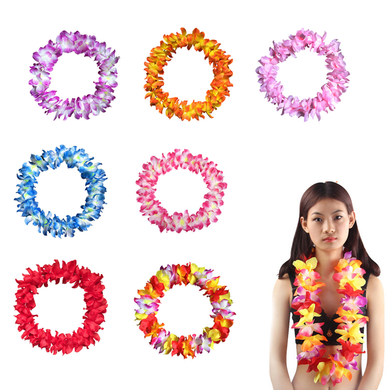 Hawaii virág girland nyaklánc színes dekoratív trópusi leis - Ünnepi és party kellékek