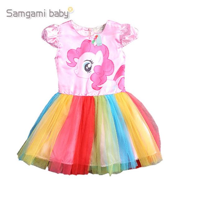 2016 novo vestido de verão meninas vestido do meu pony primavera menina vestidos de manga curta as minhas meninas princesa para little pony traje