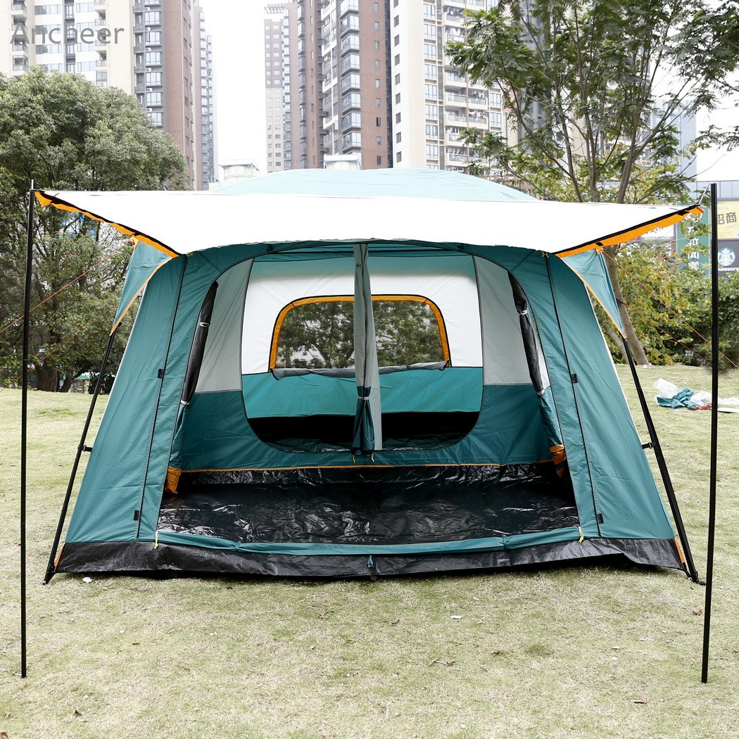 ANCHEER New High quality Camping Tent 8-Person 2-Bedroom 1-Living Room Outdoor Camping Hiking Tent with Rainfly Shelter Green outdoor double layer 10 14 persons camping holiday arbor tent sun canopy canopy tent