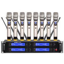 Professional UHF Wireless Microphone Eight Handheld Microphones Family KTV/Conference Room/Outdoor Performance high end uhf 8x50 channel goose neck desk wireless conference microphones system for meeting room