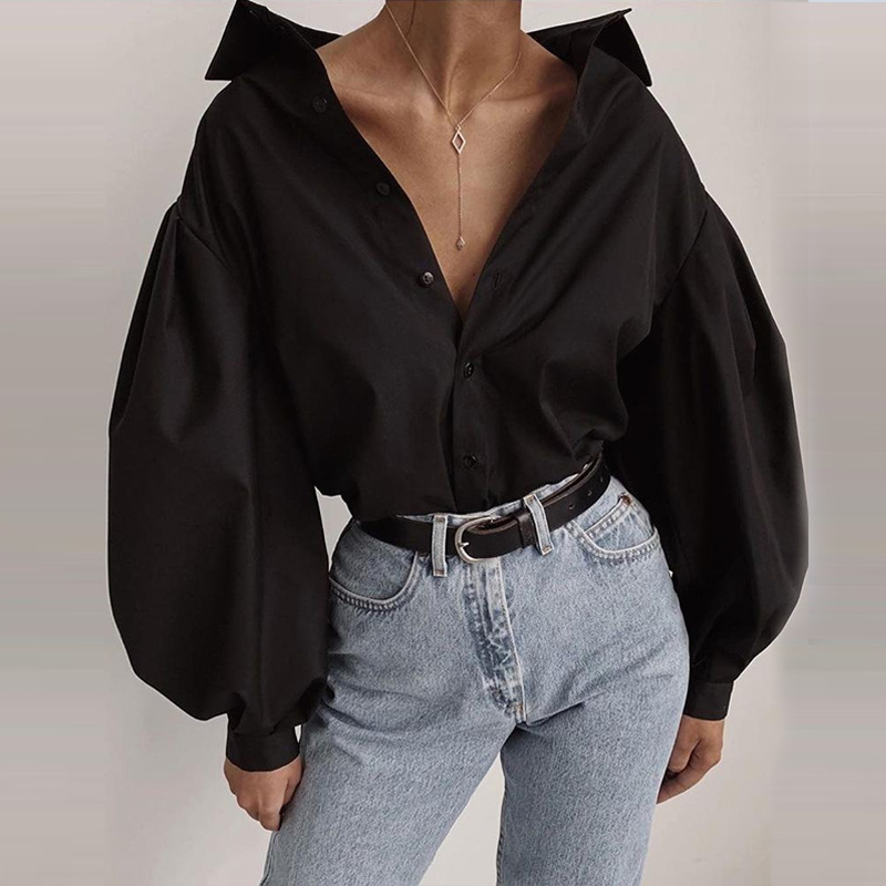 Fashion Lantern Sleeve Women Casual Shirt Blouse Solid Black Long Sleeve Camisas Mujer Streetwear Ladies Turn Down Collar Shirt