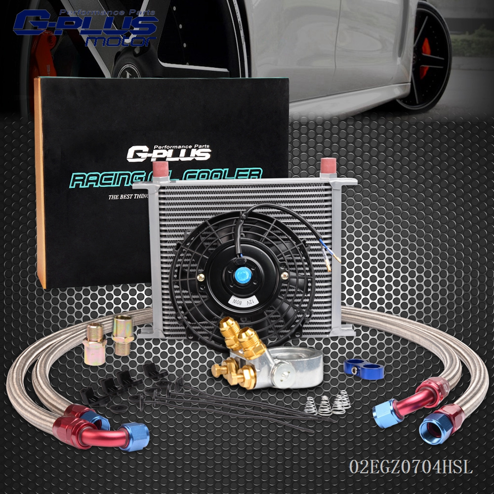 30 Row 10 An Thermostat  Adaptor Engine Oil Cooler Kit + 7 Electric Fan epman universal 10 row oil cooler kit with oil filter relocation kit for turbo race ep ok1012