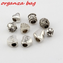 Hot ! 9 pcs Antique Silver Alloy Mixed Heart shaped Large Hole Bead Fit European Beads Bracelet DIY Jewelry  cv206