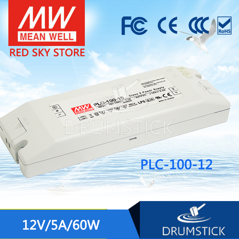 hot-selling MEAN WELL PLC-100-12 12V 5A meanwell PLC-100 12V 60W Single Output Switching Power Supply genuine mean well irm 60 12st 12v 5a meanwell irm 60 12v 60w screw terminal style