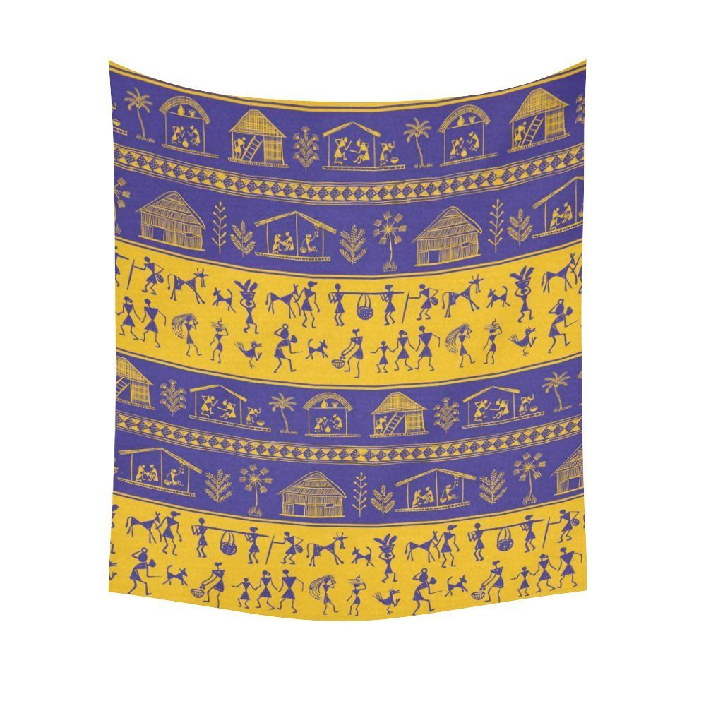 Warli Painting Home Decor Tapestries Wall Art, Tribal Pattern ...