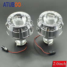 2.0 Inches HID Bi xenon Headlight Projector Lens+Mini Gatling Gun Shrouds For Cars/Motorcycle H7 H4 Car Styling цена