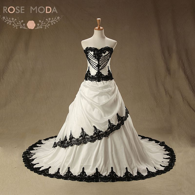 Gothic Black Wedding Dresses Plus Size Ball Gowns Puffy: Rose Moda Vintage Black Wedding Dress 2018 Pearl Lace