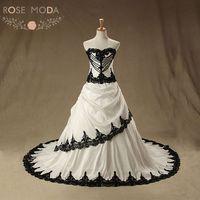Rose Moda Vintage Black Wedding Dress 2019 Pearl Lace Gothic Wedding Dresses Plus Size Vestidos de Noiva